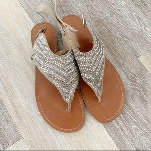 Grey Embellished Silver Sandal size 8